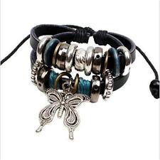 Infinity Leather Butterfly Charm Multi Silver Tone Beads Bracelet Bangle Jewelry