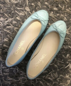 CHANEL LIGHT GREEN PATENT CALFSKIN LEATHER FLATS TIFFANY BLUE TURQUOISE 36
