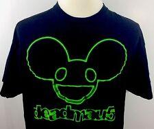Deadmau5 T-Shirt Mens XL Black 100% Cotton Tultex Catbread Glow In Dark Neon