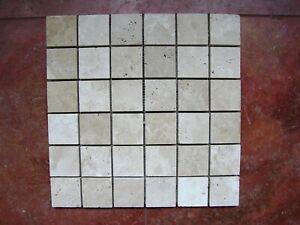 Naturstein Travertin Mosaik Chiaro/White feingeschliffen in 4,8x4,8x1cm auf Netz