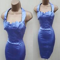 UK 10 KAREN MILLEN Blue  Satin Pleat Halterneck Cocktail Wiggle Pencil Dress