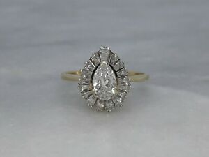 Stunning Solid 9ct Yellow Gold Cluster Ring Sparkly White Cubic Zirconia - S