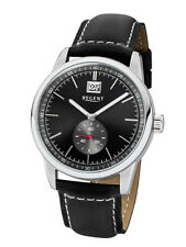 Regent Men's Watch um-1607 Analogue Small Second Hand Leather Black
