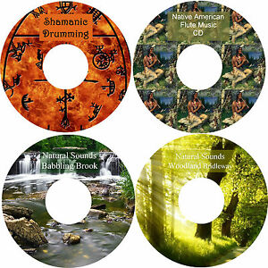 Shamanic Drumming Native American Music Woodland Bridleway Babbling Brook 4 CDs