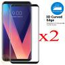 2x 3D Clear Full Coverage Tempered Glass Screen Protector for LG V30 V20 V35 CA