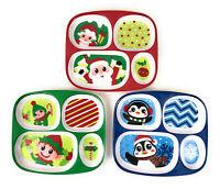 4 Section Children's Kids Divide Plates Christmas Winter Melamine Dinnerware