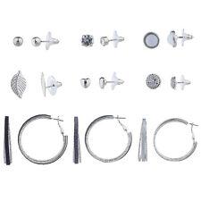 Lux Accessories Silvertone Novelty Stud Sticker Glitter Hoop Multi Earring 9PC