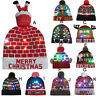 Colorful Merry Christmas LED Light-up Knit Hat Beanie Hairball Warm Cap Gifts