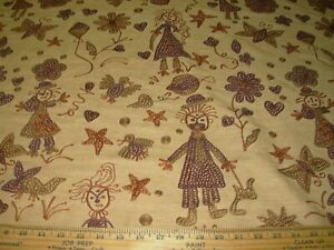 7 4/8 YDS 100% RAW SILK CREWEL CLOWNS EMBROIDERED UPHOLSTERY FABRIC FOR LESS