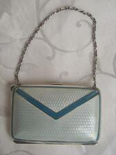 ANTIQUE SOLID SILVER & GUILLOCHE ENAMEL CHATELAINE PURSE BIRMINGHAM 1910