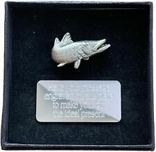 More details for personalised gift box & hand made pewter turning pike pin badge engraved free