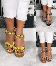 Ladies Womens High Block Heels Ankle Strap Platform Summer Sandals Shoes Size