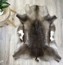 Reindeer Skin Fur Throw Rug - Brown Grey Scandinavian Deer Hide - High Quality