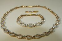 Swarovski Signed Gold Tone Crystal Encrusted Necklace Choker & Bracelet Set NEW