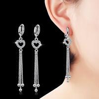 Solid 925 Sterling Silver Natural Zircon Heart Tassel Ear Hoop Dangle Earrings