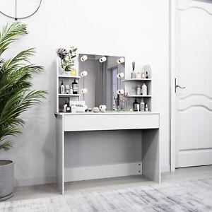 Coiffeuse Table de Maquillage Commode avec Miroir  LED et Tiroir Coiffeuse Blanc