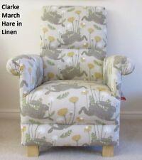 Clarke March Hare Linen Fabric Adult Chair Mustard Beige Armchair Nursery Rabbit