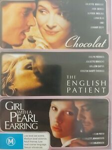 3 DVD Romance Chocolat The English Patient & Girl with a Pearl Earring