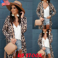 Women's Leopard Cardigan Long Sleeve Coat Ladies Spring Autumn Jacket Outerwear