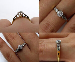 1Ct Round Diamond Petite Solitaire Vintage Engagement Ring 14K Yellow Gold Over