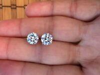 0.50 Carat Diamond Screw Back Stud Earrings 6mm in 14K White Gold