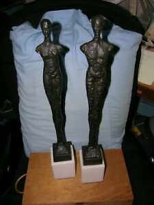 Pair of Vintage Man and Woman Tall Bronze Sculptures on Marble Bases