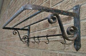 Vintage Wrought Iron Wall Hanging Shelf Unit Rack & Coat Hooks Blacksmith Made