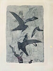 George Braque Vtg Mid Century Modern Birds Flight French Etching Art Print