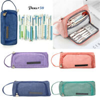 Large Capacity Pencil Case Canvas Pen Bag School Stationery Cosmetic Storage Bag