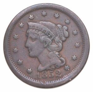 Better 1852 Braided Hair US Large Cent Penny Coin Collection Lot Set Break *417