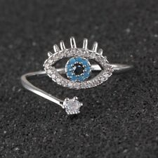 Fashion 925 Silver Ring Stainless Steel Crystal Blue Eye Wedding Ring Jewelry
