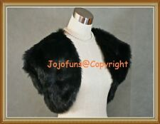 BLACK Faux Fur Bridal Wedding Shrug/Bolero/Cape/Capelet/Evening Tippet/Coat,BN