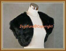BLACK Faux Fur Bridal Wedding Shrug/Bolero/Cape/Capelet/Evening Tippet/Coat,BN