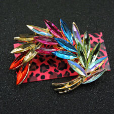 Charm Betsey Johnson Brooch Pin Women's Fashion Colorful Crystal Feather Wings
