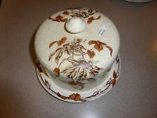 Antique Ironstone Cheese Bread Butter Keeper Covered Lid Dish Plate Platter