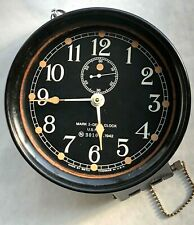 Ww2 Us Navy N35590 1942 Mark I-Deck Clock Vintage Seth Thoma Bakelite Black Face