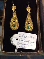 Victorian 18K Emerald Earrings