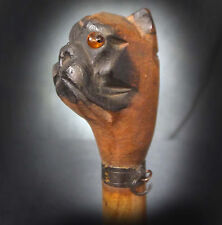 LOVELY RARE 19th C. FIGURAL PAPER KINFE / LETTER OPENER - PUG WITH GLASS EYES