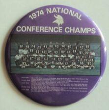 """Minnesota Vikings BUTTON Pin 1974 Tarkenton Yary Page 6"""" NFL Champs - FLASH SALE"""