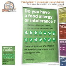 Food Allergy Intolerance Poster A2 A3 A4 (anti-glare lamination & edge sealed)