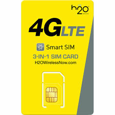 H2O Wireless TRIPLE Sim Card Including PreLoaded $40 First Month Free Prefunded