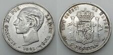 ESPAÑA ALFONSO XII 1881 *18-?1 MSM 5 PESETAS PTAS MONEDA PLATA MBC