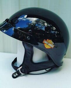 Harley Davidson Half Motorcycle Helmet Gloss Black Size Large 59-60 cm DOT Korea
