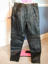 Black Leather Biker/Motorcycle trousers unusual ribbing at back & knee - 34 inch