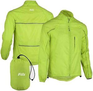 FDX Mens Waterproof Pouched Cycling Jacket Breathable Lightweight Hi Viz Jacket