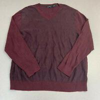 Claiborne V Neck Sweater Mens 2XL Maroon Black Argyle Diamond Knitted Pullover