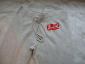Victoria Sport Sweatpants Lounge Jogger Light Gray Size S/P Red Logo Drawstring