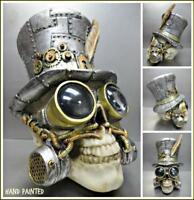 Steampunk Gothic Robotic SKULL Top Hat & Goggles Skeleton HEAD Sculpture Decor