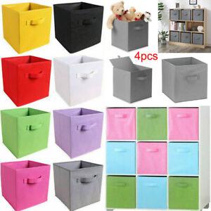 4pcs Canvas Storage Boxes Foldable Basket Cube Magazine Bookcase Shelving Shelf