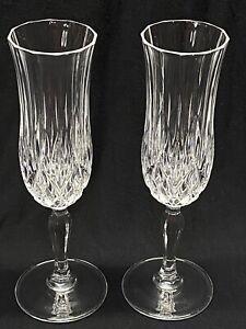 Vintage Lead Crystal Champagne Wine Flute w Diamond Ribbed Pattern Set of 2